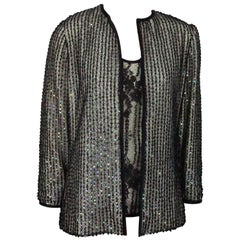 Andre Laug Black / Ivory Silk and Lace Beaded Jacket and Top