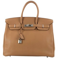 Hermes Birkin Handbag Tabac Brown Swift with Palladium Hardware 35