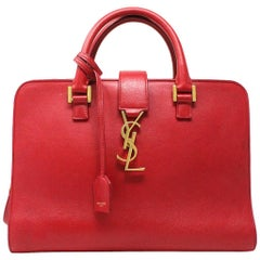 Yves Saint Laurent YSL Red Leather Gold Hardware Crossbody Handbag