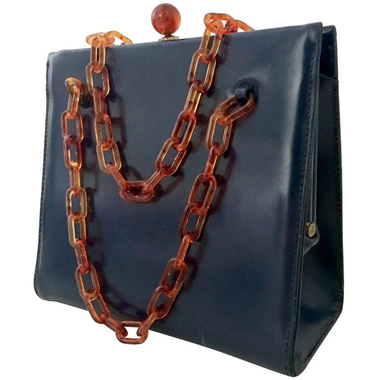 94c3b51a2a68 50'S Dofan France Navy Leather and Faux Tortoise Bakelite Hand Bag ...