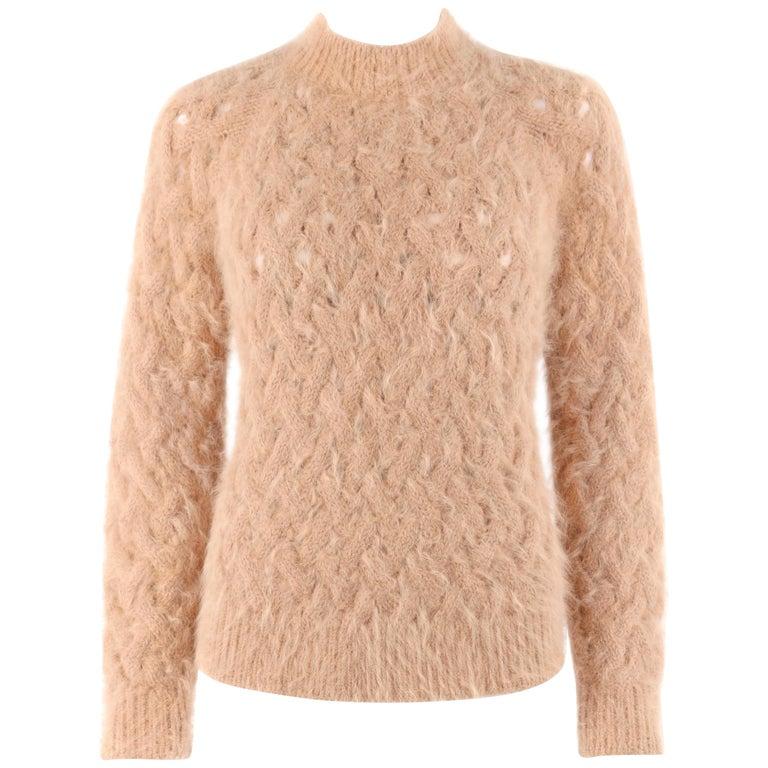 BALMAIN Paris Tan Angora Wool Chunky Cable Knit Pull Over Mock Neck Sweater