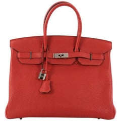 Hermes Birkin Handbag Geranium Red Togo with Palladium Hardware 35