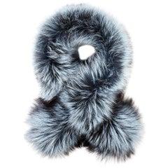 Verheyen London Lapel Iced Topaz Cross-through Collar Fox Fur & Silk Lining
