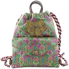 Gucci Animalier Drawstring Backpack Brocade Small