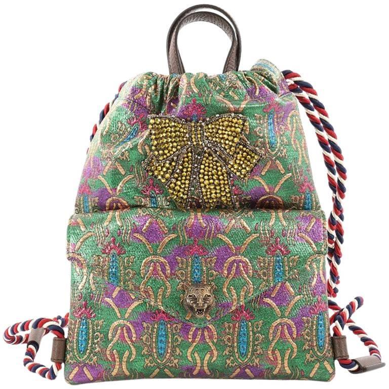 Gucci Animalier Drawstring Backpack Brocade Small