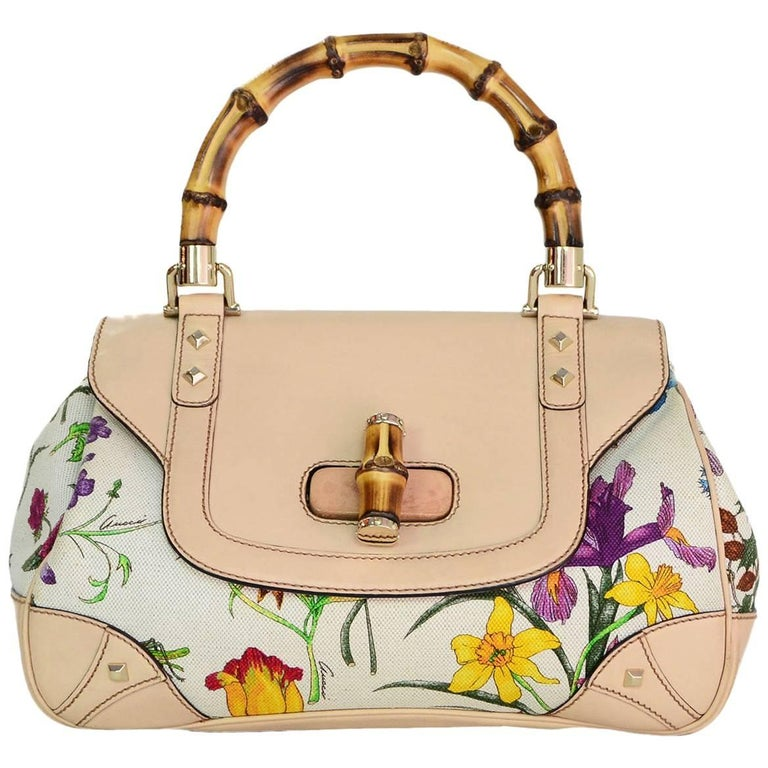 Gucci Flora Floral Canvas & Bamboo Top Handle Bag