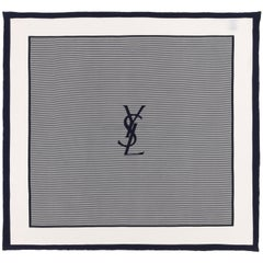 YVES SAINT LAURENT c.1980s YSL Navy Blue White Striped Signature Logo Silk Scarf