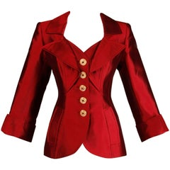 Christian Lacroix Vintage Metallic Red Taffeta Rhinestone Origami Jacket, 1990s