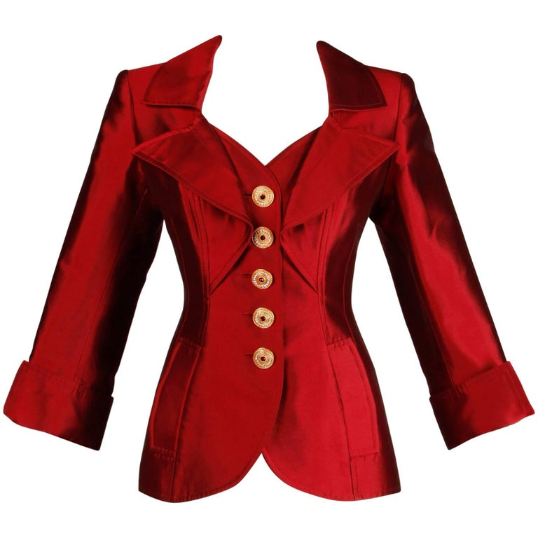 Christian Lacroix Vintage Metallic Red Taffeta Rhinestone Origami Jacket, 1990s  For Sale