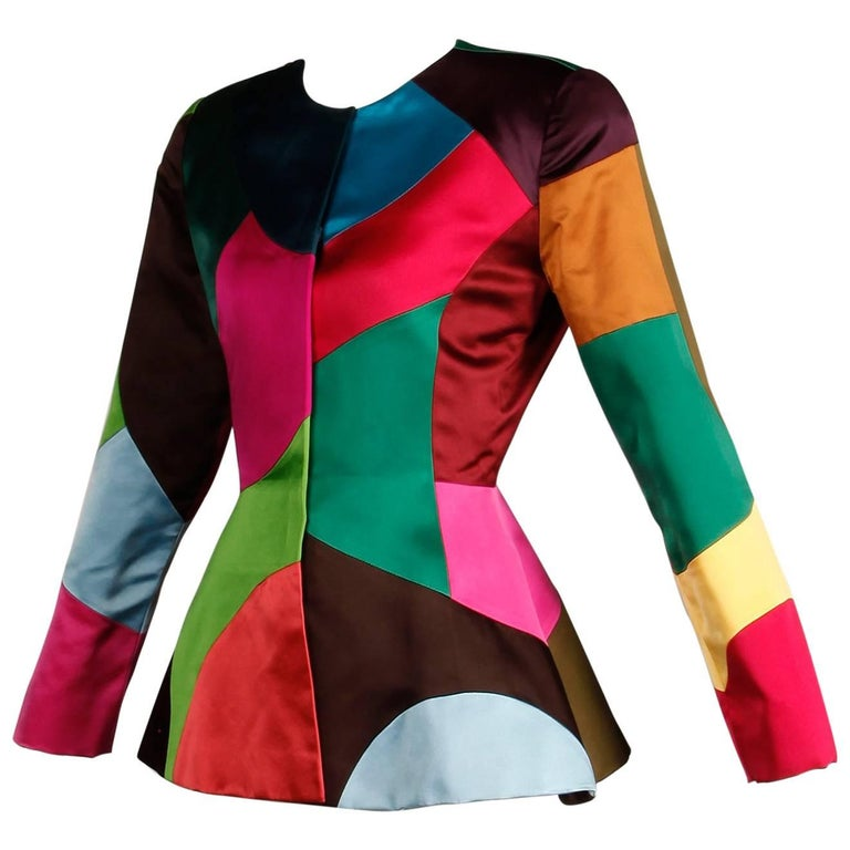 Oscar de la Renta Vintage Rainbow Color Block Silk Evening Jacket, 1980s  For Sale
