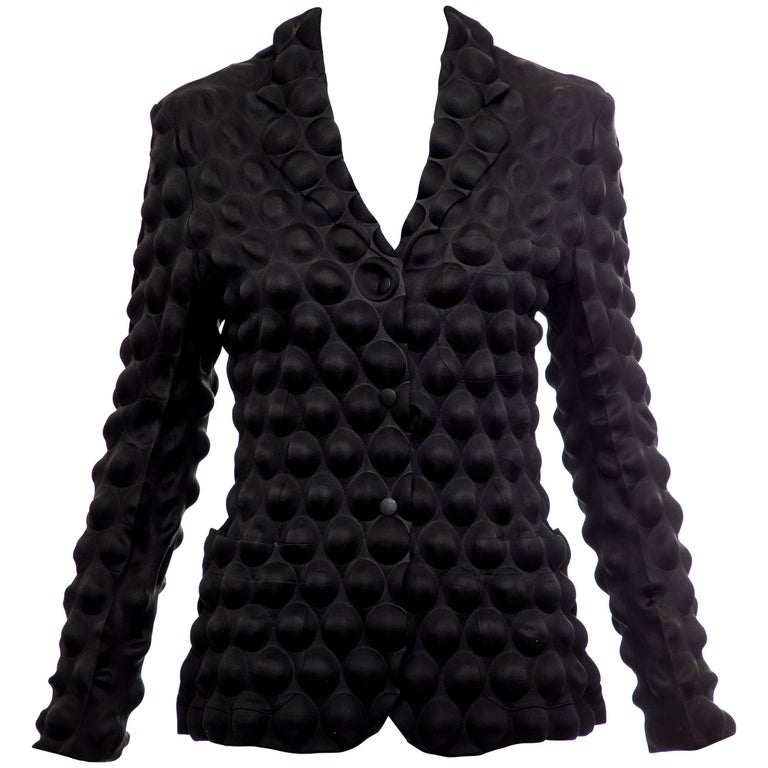 Issey Miyake Black Egg Carton Snap Front Blazer, Fall 2000 For Sale