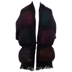 Issey Miyake Runway Nylon Cotton Open Knit Overlay Puffer Scarf, Fall 2012