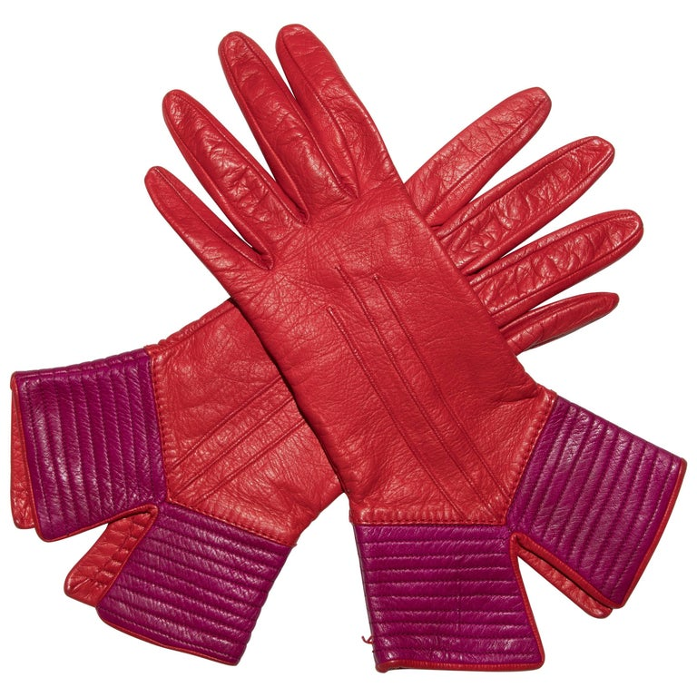 Yves Saint Laurent Color-Block Leather Gloves Silk Lining, Circa 1970s For Sale