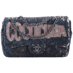 Chanel Limited Edition Blue Sequin Leather Single Double Shoulder Flap Bag
