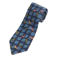 Hermes Men's Printed Blue Silk Bird Leaf Motif Tie