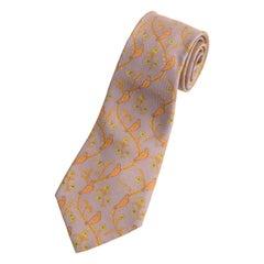 Hermes Men's Lavender Gold Green Silk Printed Bird Motif Tie