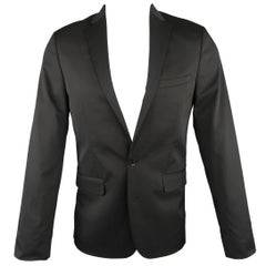 Calvin Klein Men's Regular Black Solid Twill Extreme Slim Fit Sport Coat