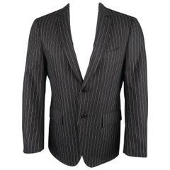 John Varvatos Men's Short Navy Wool / Cashmere Pinstriped Sport Coat