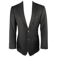 Gucci Men's Black Solid Wool Gold Button Patch Pocket Sport Coat