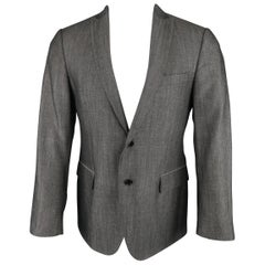 John Varvatos Men's Dark Gray Solid Wool / Linen Textured Sport Coat