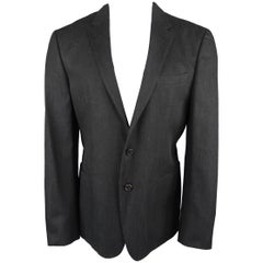 Prada Men's Black Solid Textured Cotton Patch Pocket Sport Coat