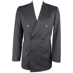 Dolce & Gabbana Men's Black Stripe Wool Double Breasted Sport Coat