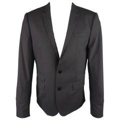 LONGCHAMP 42 Regular Black Solid Wool Blend Peak Lapel Sport Coat