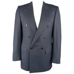 BRIONI 40 Long Navy Windowpane Wool Double Breasted Sport Coat Jacket