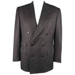 BRIONI 41 Regular Black Wool / Silk Double Breasted Peak Lapel Sport Coat