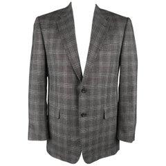 HICKEY FREEMAN 42 Regular Dark Gray Plaid Silk / Wool Notch Lapel Sport Coat