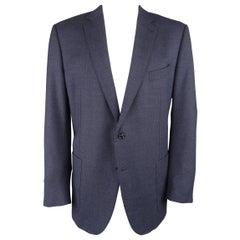 ERMENEGILDO ZEGNA 50 Regular Navy Textured Wool Notch Lapel Sport Coat Jacket