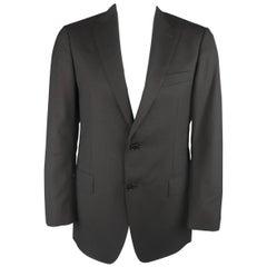 ERMENEGILDO ZEGNA 40 Regular Black Window Pane Textured Wool Sport Coat Jacket