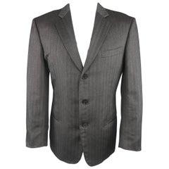 GIORGIO ARMANI 40 Charcoal Herringbone Cashmere / Silk 3 Button Sport Coat
