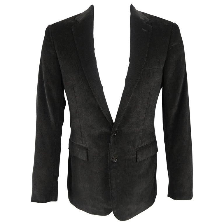 RALPH LAUREN 38 Black Corduroy Notch Lapel Sport Coat Jacket