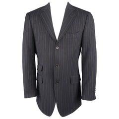 ETRO 40 Navy Purple & Yellow Stripe Wool 3 Button Sport Coat