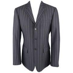 VERSUS by GIANNI VERSACE 40 Navy Pinstripe Wool Sport Coat Jacket