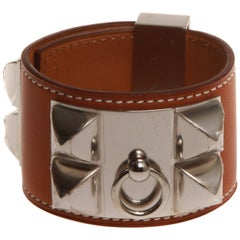 Hermès Collier de Chien Fauve Barenia with Silver Hardware