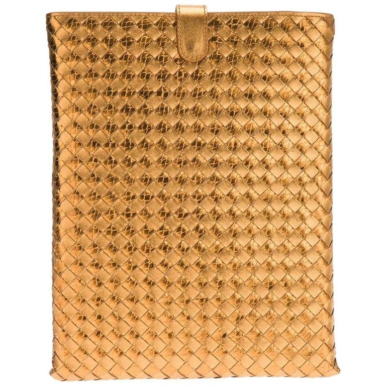 Brandnew Bottega Veneta Metallic Intrecciato Ayers Oro Bruciato Woven Ipad Case