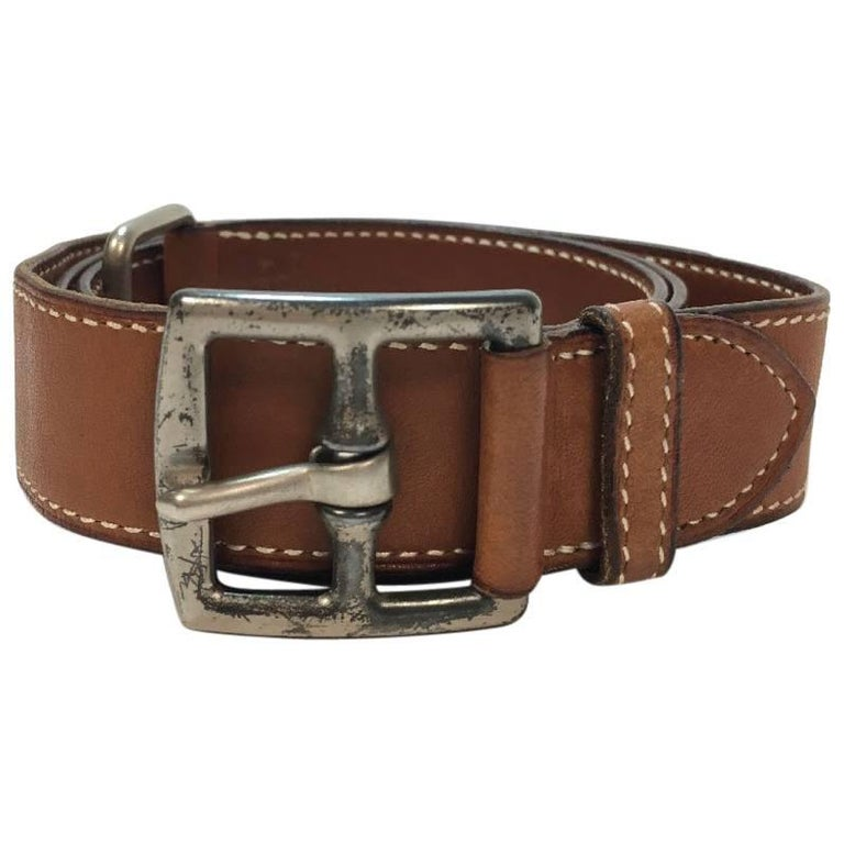 HERMES Belt in Gold Barénia Leather with Saddle Stitching Size 78