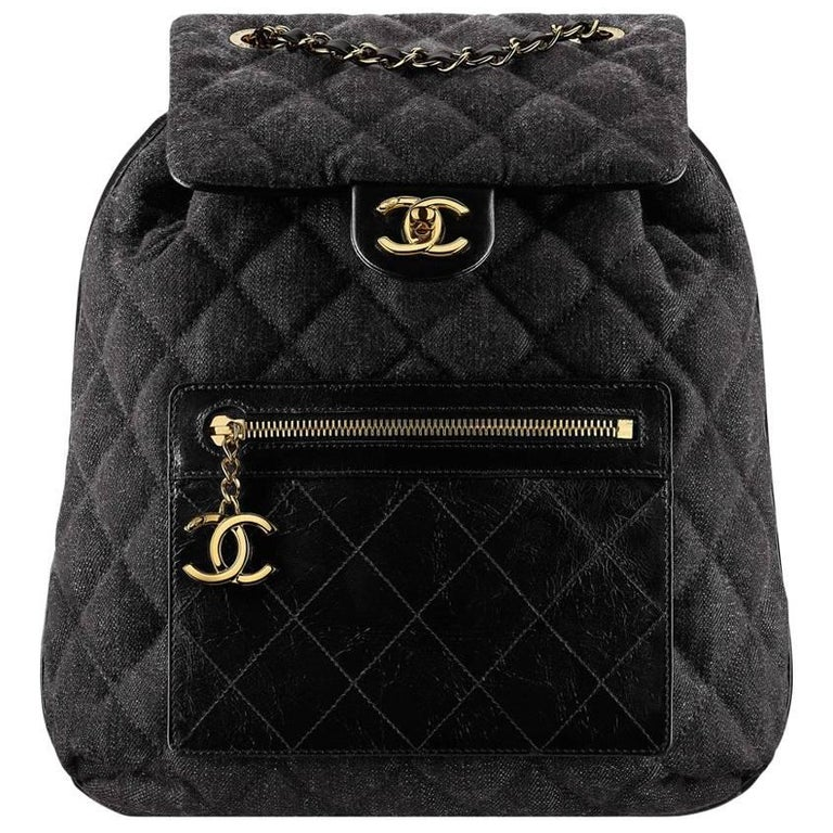 Chanel Quilted Denim and Leather Backpack