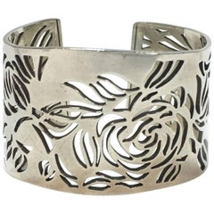 CHANEL Camellias Cuff Bracelet in Sterling Silver