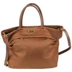 Prada Brown Tessuto Tote Handbag with Shoulder Strap BN2531