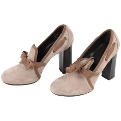 Hogan Taupe Suede Slip On Pumps Shoes Heels with Bow Detail Size 36.5