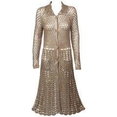 Prada Gold Bronze Metallic Crochet Duster Sweater, 2000s