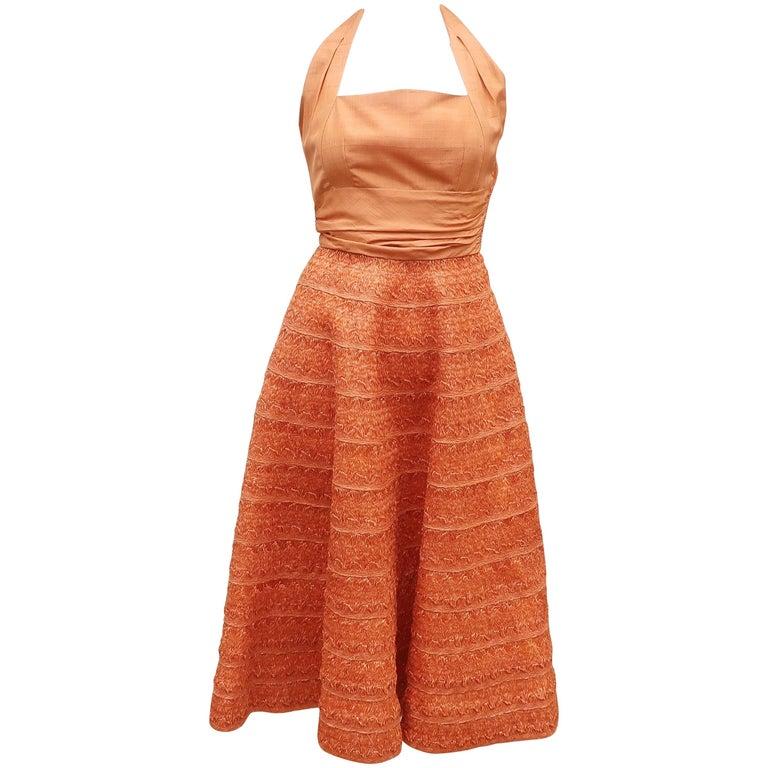 1950's Adele Simpson Shantung Silk Halter Dress With Raffia Skirt