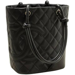 Chanel Cambon Tote Small Black Quilted Calfskin SV Shoulder Bag