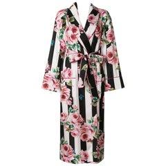Dolce & Gabbana Rose Striped Tie Waist Robe Coat