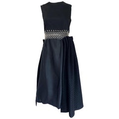 New Comme Des Garcons Noir Kei Ninomiya Black + Silver Grommets Cotton Dress