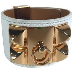 Hermes White Epsom Collier De Chien With Rose Gold Hardware