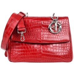 Christian Dior Be Dior Bag  Matte Red Crocodile Double Flap Small